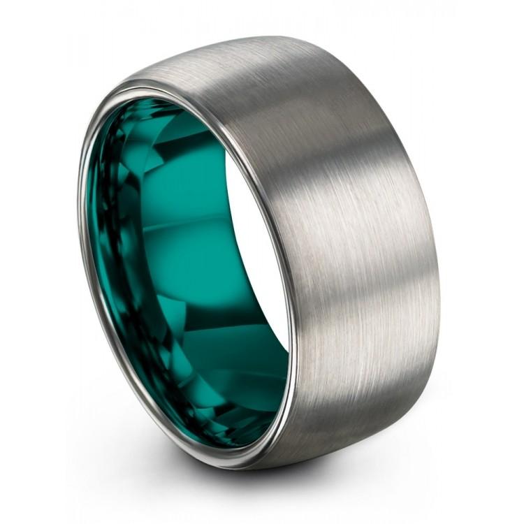 Galena Gray Aqua Teal 10mm Wedding Ring