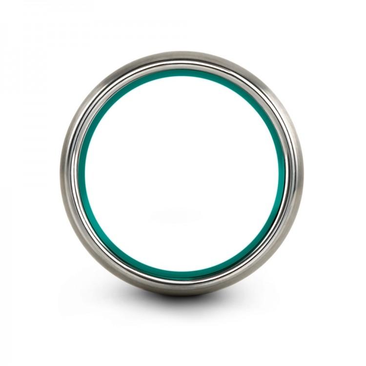 Galena Gray Aqua Teal 10mm Women Wedding Ring