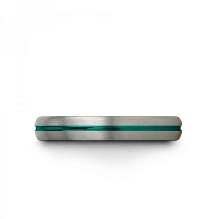 Galena Gray Aqua Teal 4mm Vintage Wedding Ring