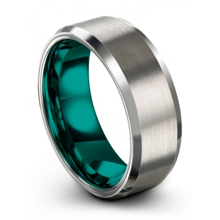 Galena Gray Aqua Teal 8mm Latest Wedding Ring
