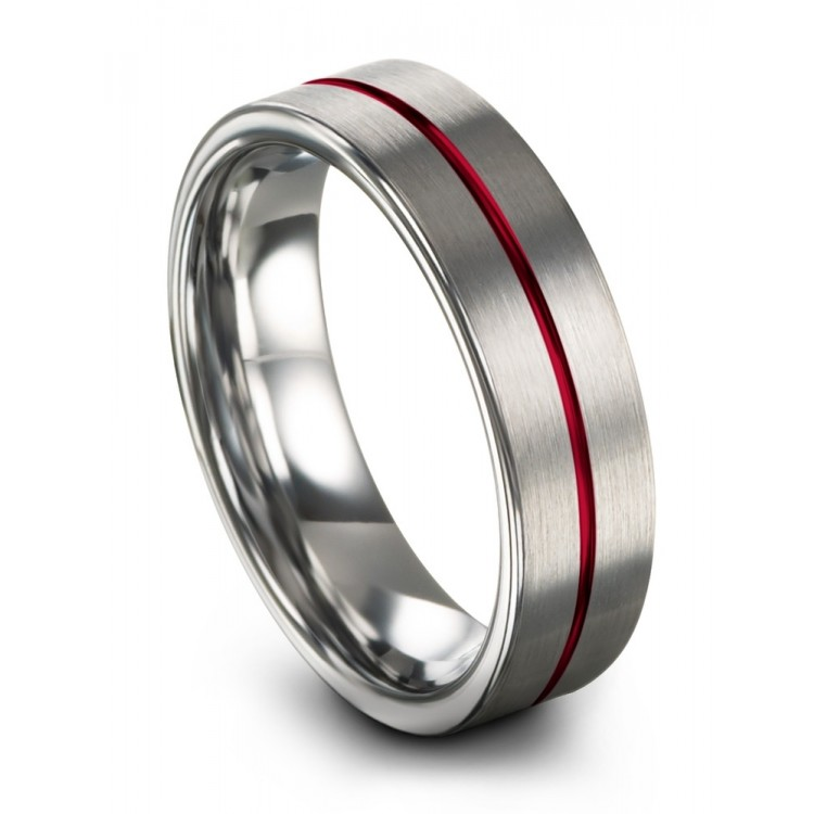 Galena Gray Crimson Allure 6mm Chroma Wedding Ring