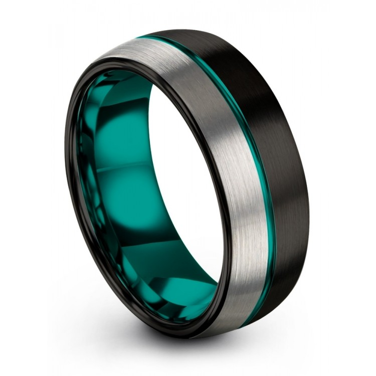 Galena Gray Dark Knight Aqua Teal 8mm Chroma Wedding Ring
