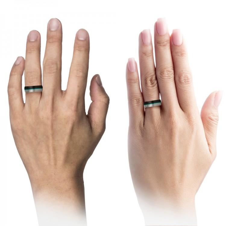 Galena Gray Dark Knight Aqua Teal 8mm Unique Wedding Ring