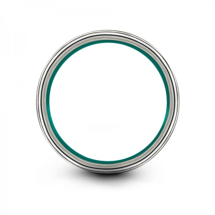 Galena Gray Dark Knight Aqua Teal 8mm Wedding Band