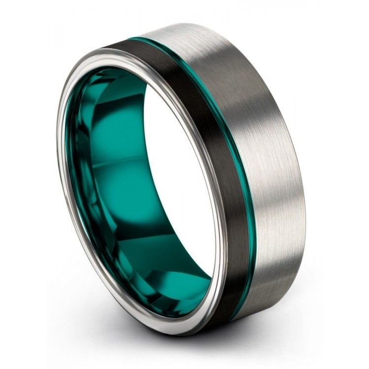 Galena Gray Dark Knight Aqua Teal 8mm Wedding Ring