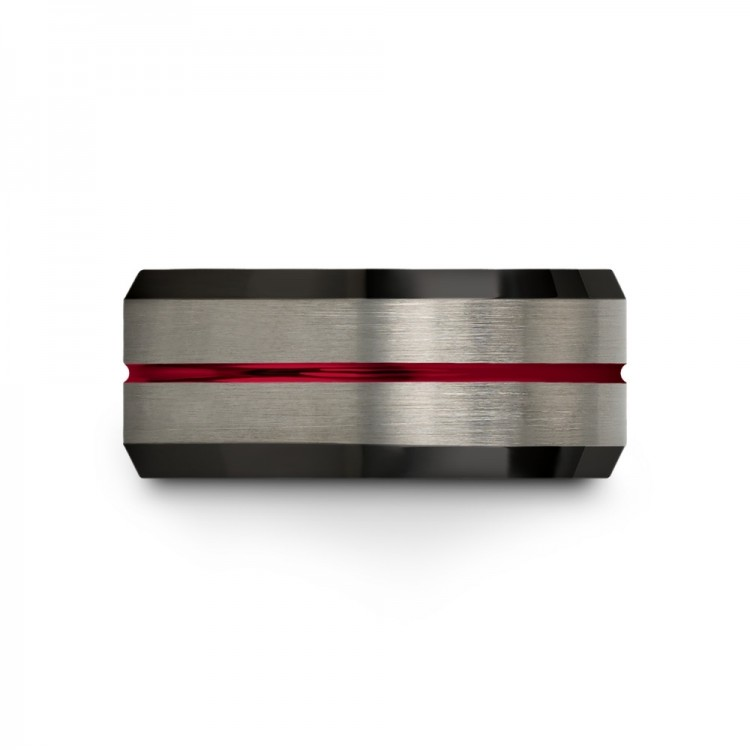 Galena Gray Dark Knight Crimson Allure 10mm Mens Wedding Band