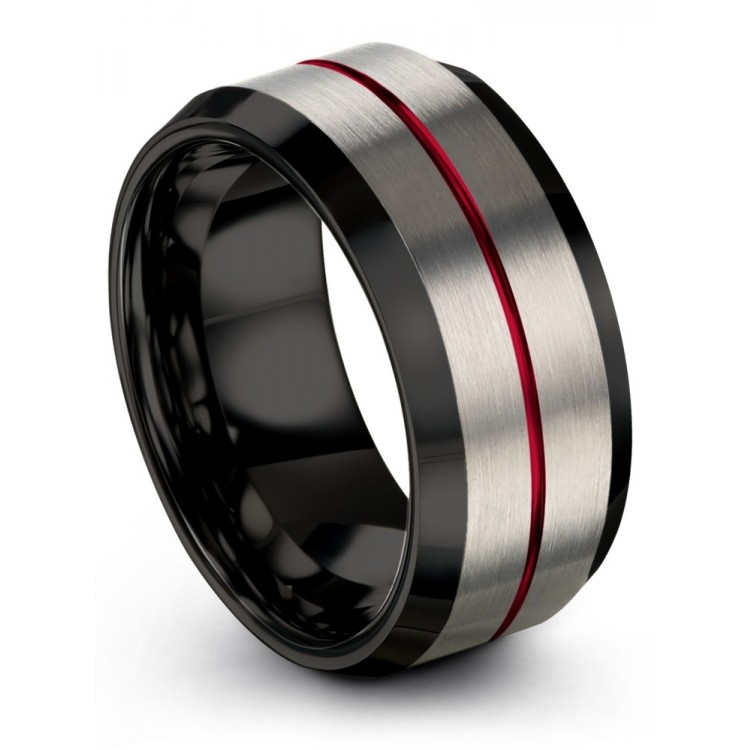 Galena Gray Dark Knight Crimson Allure 10mm Women Wedding Ring