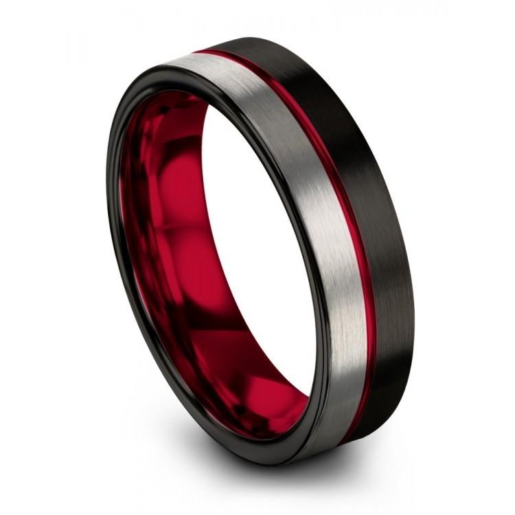Galena Gray Dark Knight Crimson Allure 6mm Wedding Ring