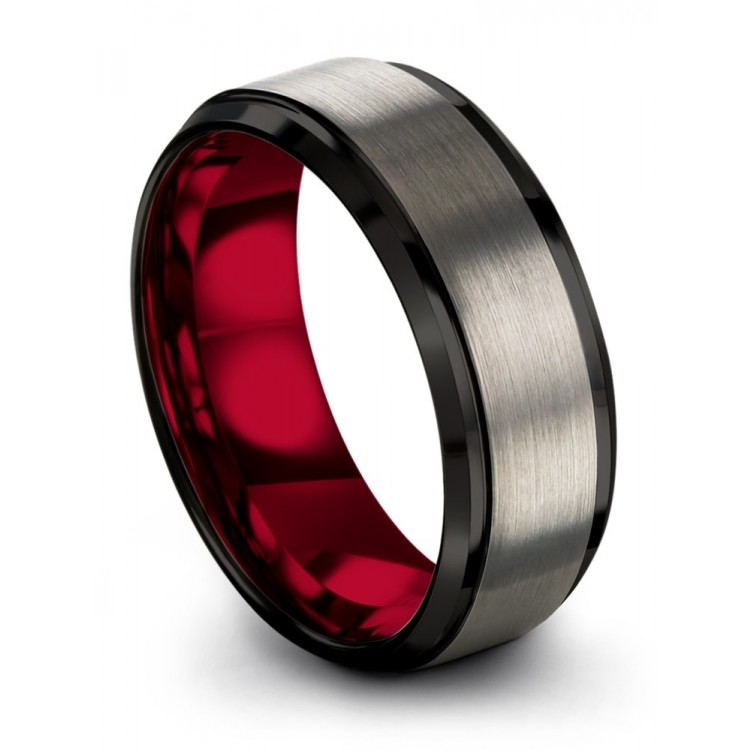 Galena Gray Dark Knight Crimson Allure 8mm Fancy Wedding Ring