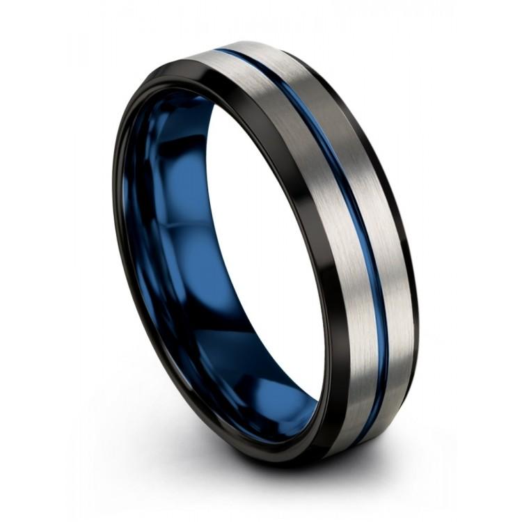 Galena Gray Dark Knight Empire Blue 6mm Wedding Ring