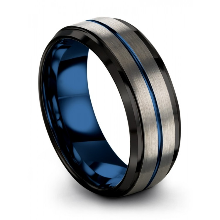 Galena Gray Dark Knight Empire Blue 8mm Fancy Wedding Ring