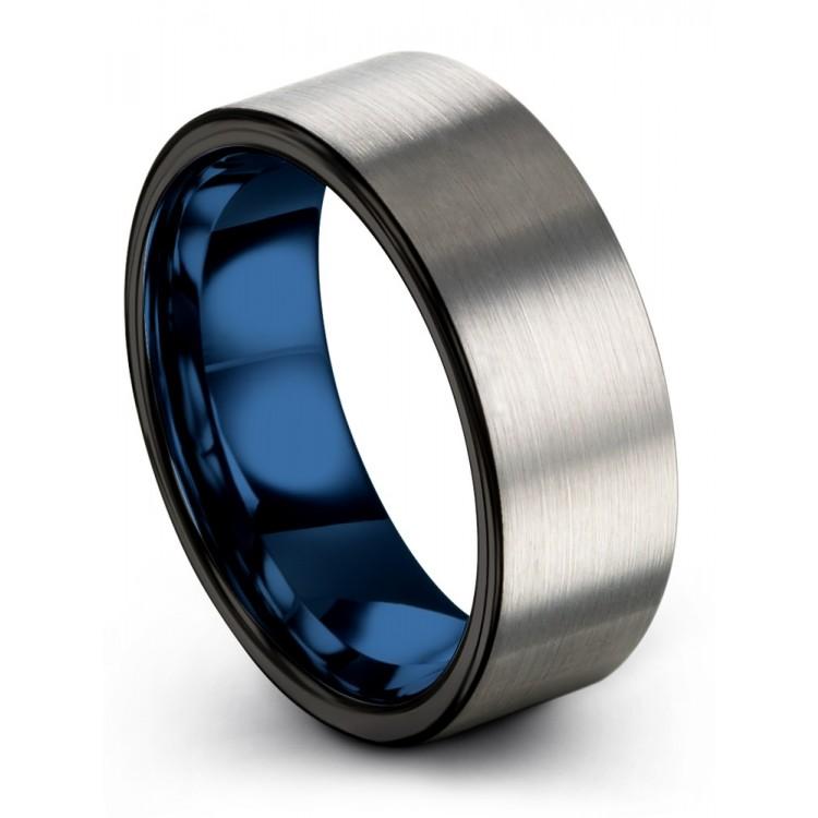 Galena Gray Dark Knight Empire Blue 8mm Unisex Wedding Rings