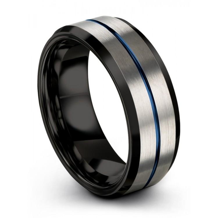 Galena Gray Dark Knight Empire Blue 8mm Wedding Ring