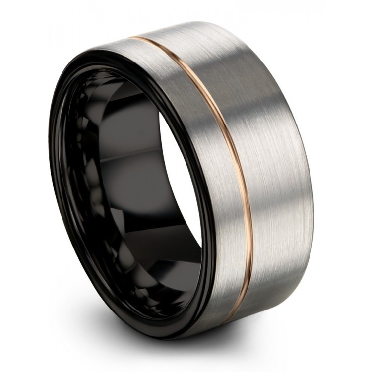 Galena Gray Dark Knight Rose Gold 10mm Couple Wedding Ring