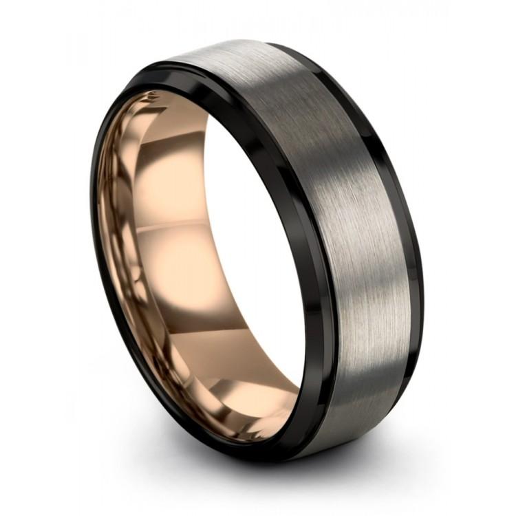Galena Gray Dark Knight Rose Gold 8mm Latest  Wedding Ring