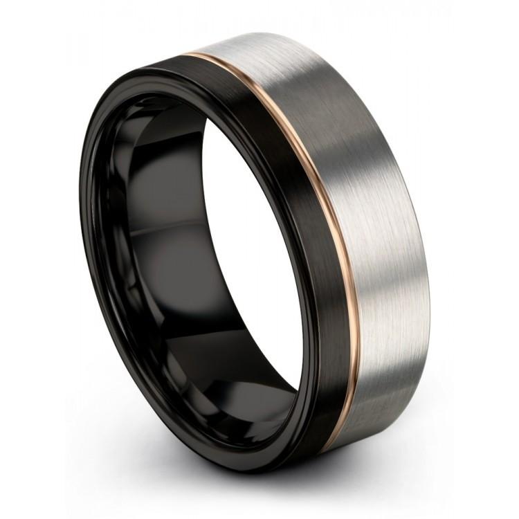 Galena Gray Dark Knight Rose Gold 8mm Wedding Ring