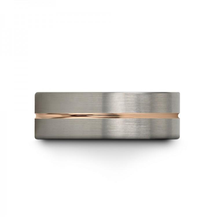 Galena Gray Dark Knight Rose Gold 9mm Vintage Wedding Ring