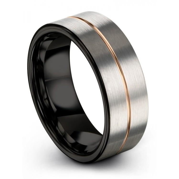 Galena Gray Dark Knight Rose Gold 9mm Women Wedding Ring