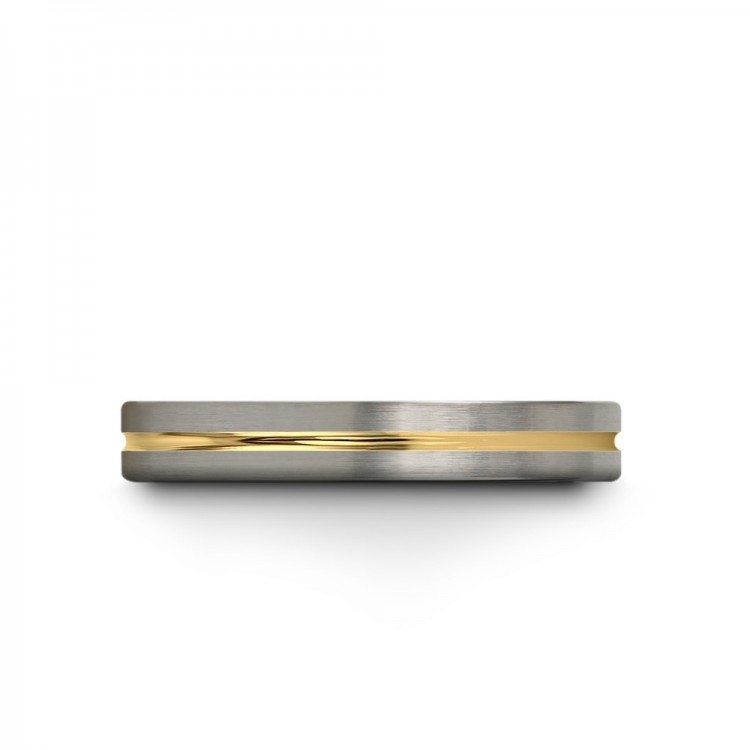 Galena Gray Dark Knight Yellow Gold 4mm Couple Unique Wedding Ring