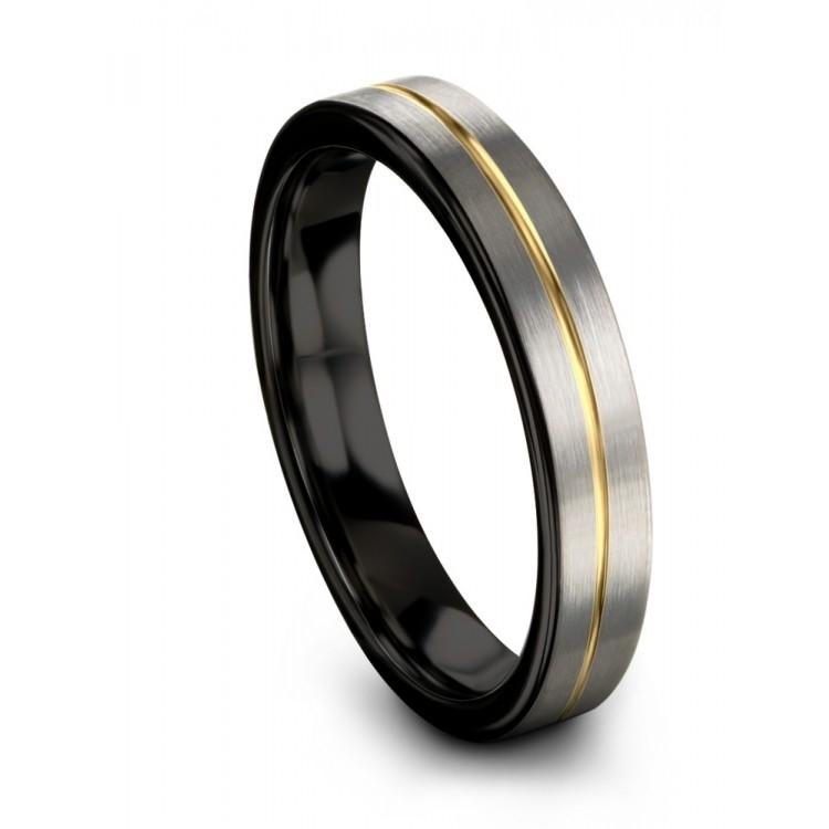 Galena Gray Dark Knight Yellow Gold 4mm Couple Wedding Ring