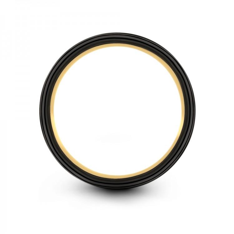 Galena Gray Dark Knight Yellow Gold 7mm Unique Wedding Ring