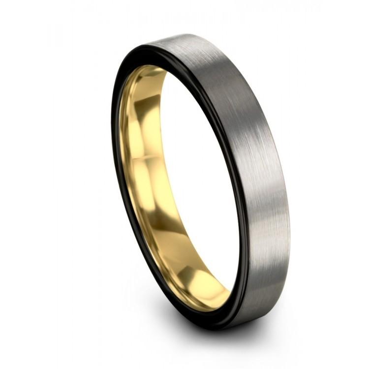 Galena Gray Dark Knight Yellow Gold 7mm Vintage Wedding Ring