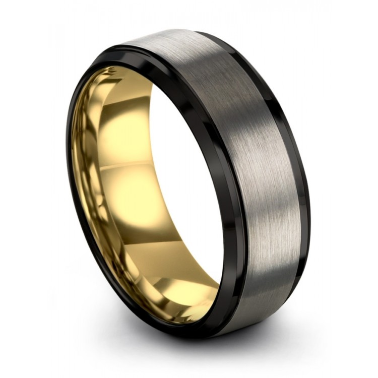 Galena Gray Dark Knight Yellow Gold 8mm Unique Wedding Ring