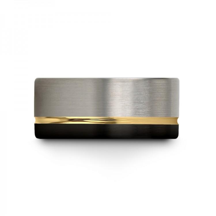 Galena Gray Dark Knight Yellow Gold 9mm Rubber Wedding Ring