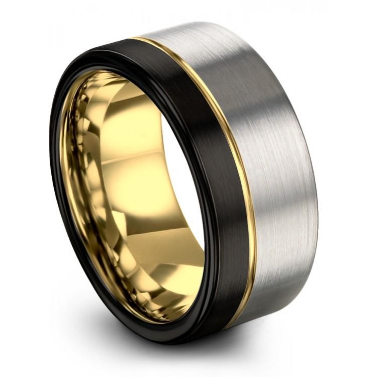 Galena Gray Dark Knight Yellow Gold 9mm Wedding Band