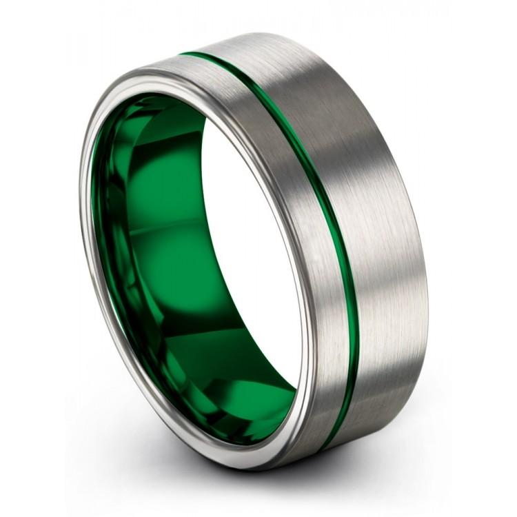 Galena Gray Emerald Zing 8mm Fancy Wedding Ring