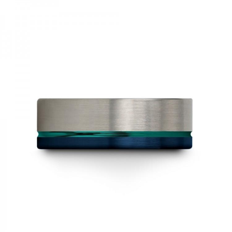 Galena Gray Empire Blue Aqua Teal 8mm Unique Wedding Ring