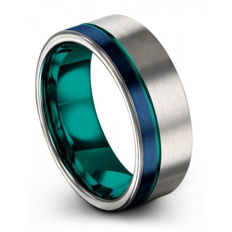 Galena Gray Empire Blue Aqua Teal 8mm Wedding Ring
