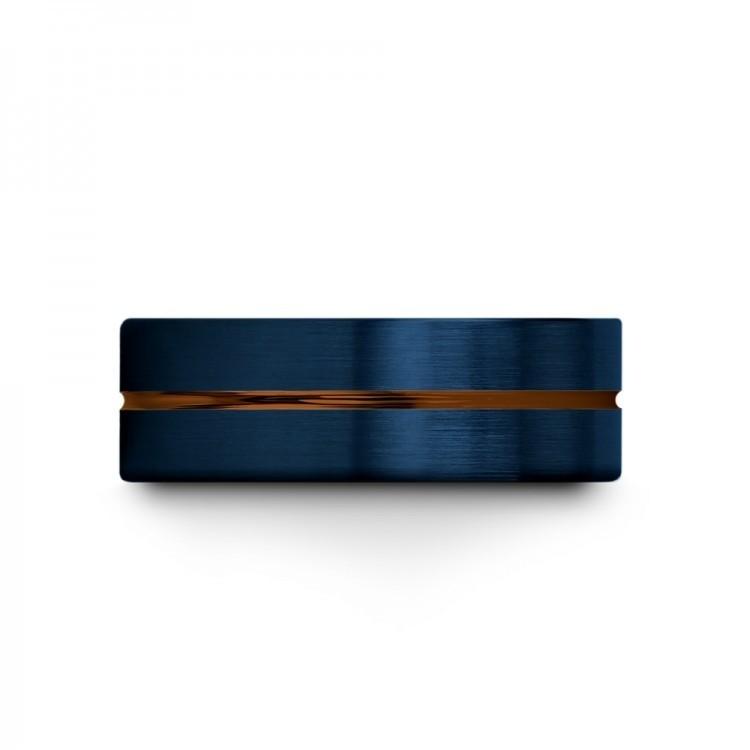 Galena Gray Empire Blue Copper Sun 8mm Unique Wedding Rings