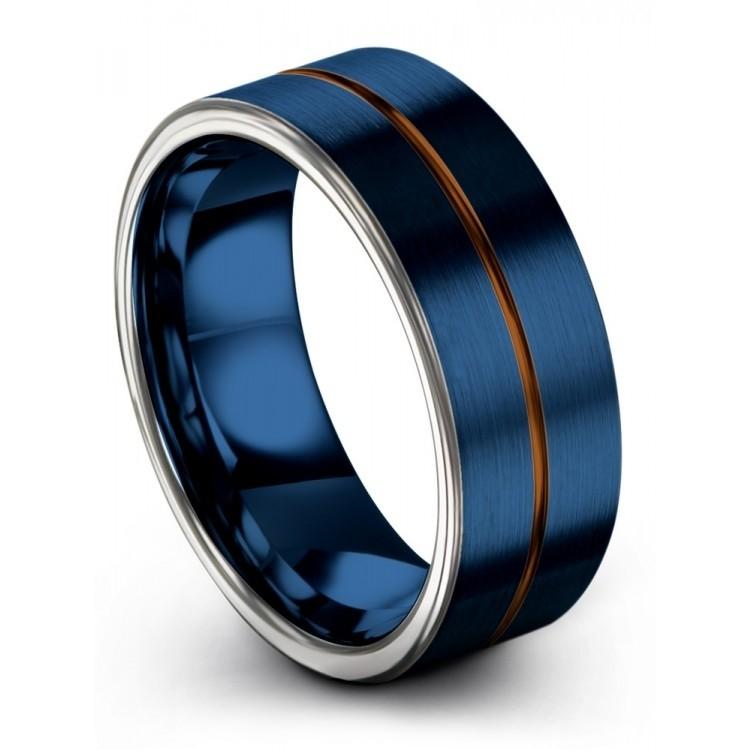 Galena Gray Empire Blue Copper Sun 8mm Wedding Rings