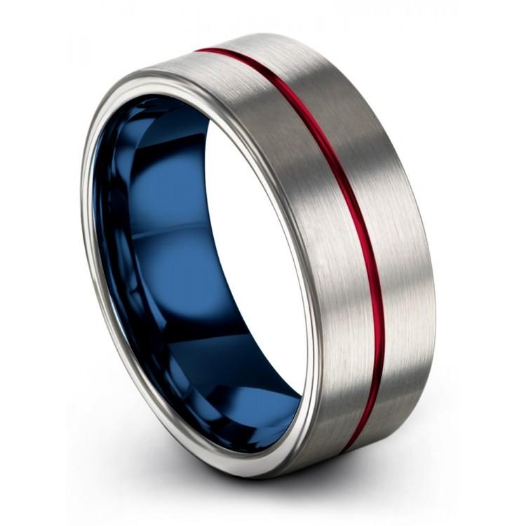 Galena Gray Empire Blue Crimson Allure 8mm Couple Wedding Rings