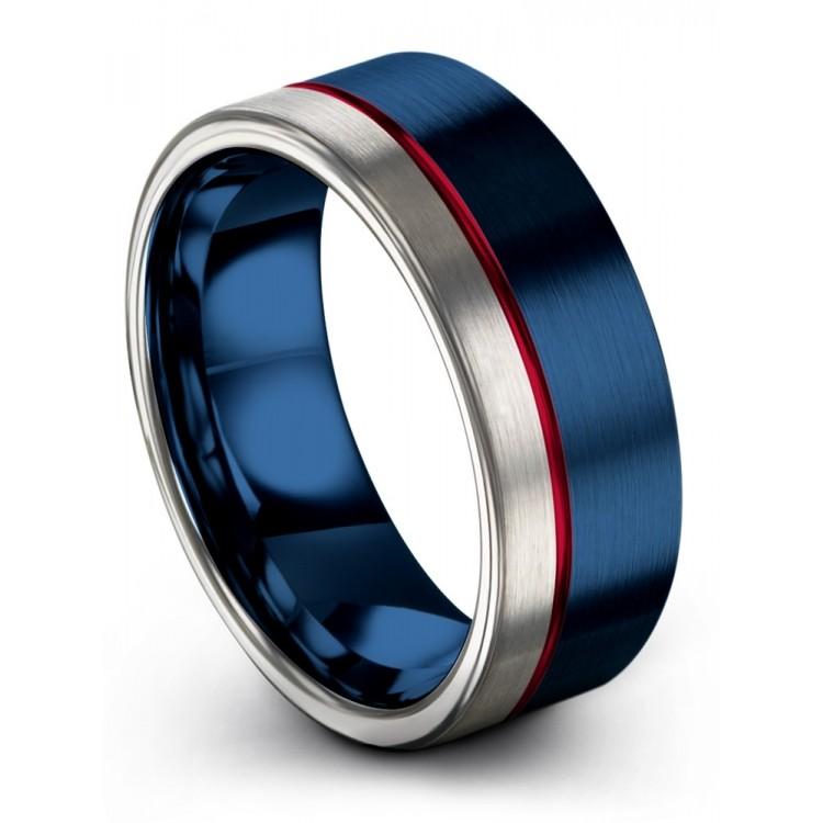 Galena Gray Empire Blue Crimson Allure 8mm Latest Wedding Rings