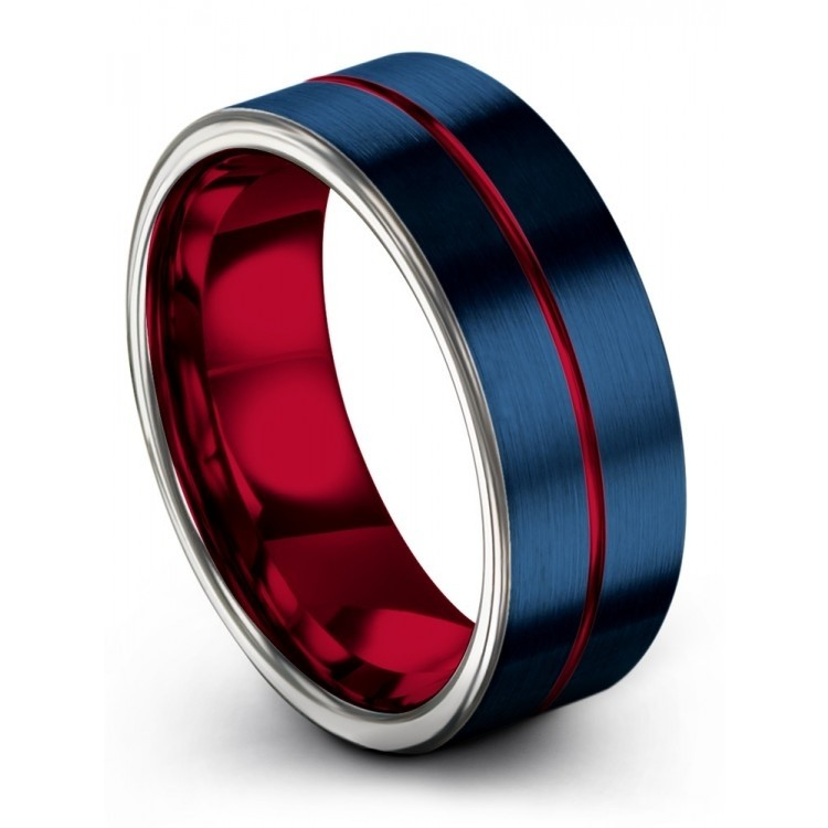 Galena Gray Empire Blue Crimson Allure 8mm Wedding Ring