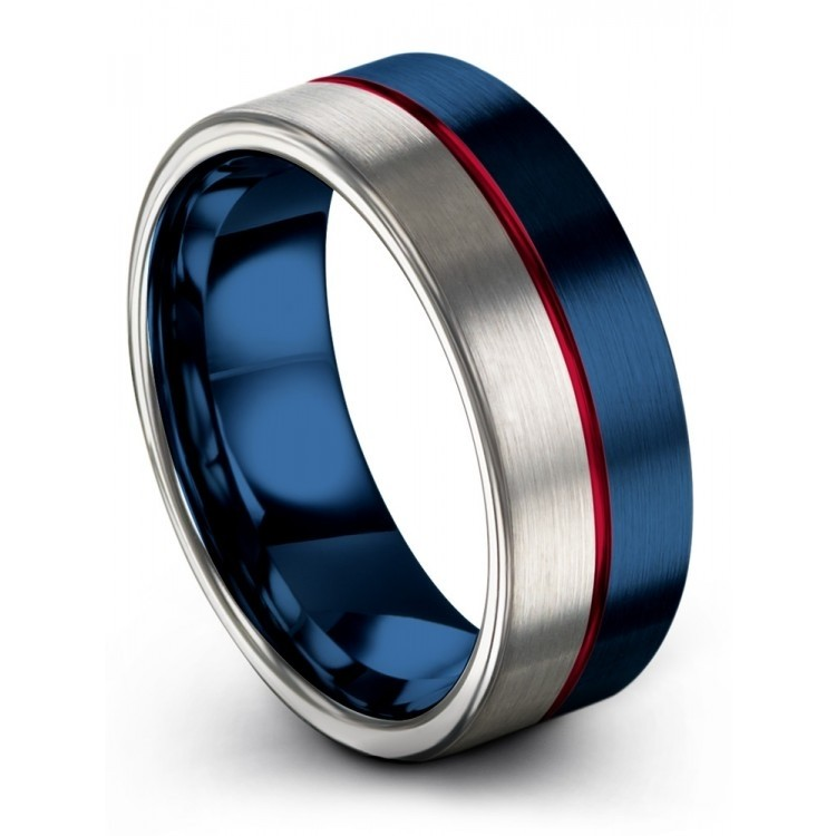 Galena Gray Empire Blue Crimson Allure 8mm Wedding Rings