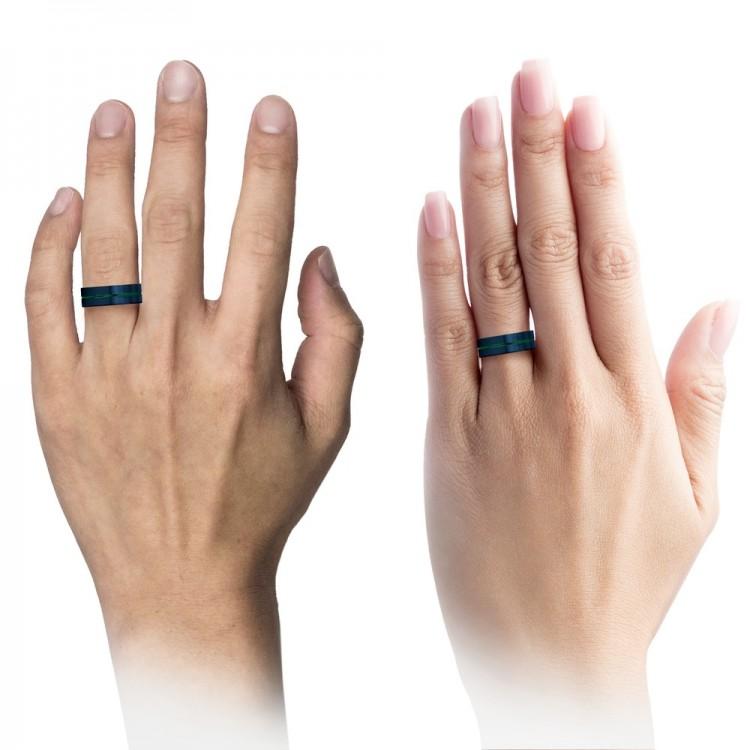 Galena Gray Empire Blue Emerald Zing 8mm Couple Unique Wedding Rings