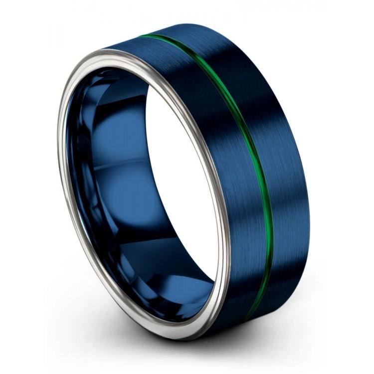 Galena Gray Empire Blue Emerald Zing 8mm Couple Wedding Rings
