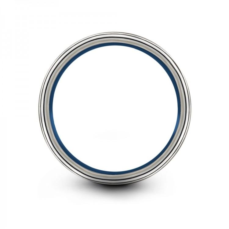 Galena Gray Empire Blue Royal Bliss 8mm Couple Unique Wedding Bands