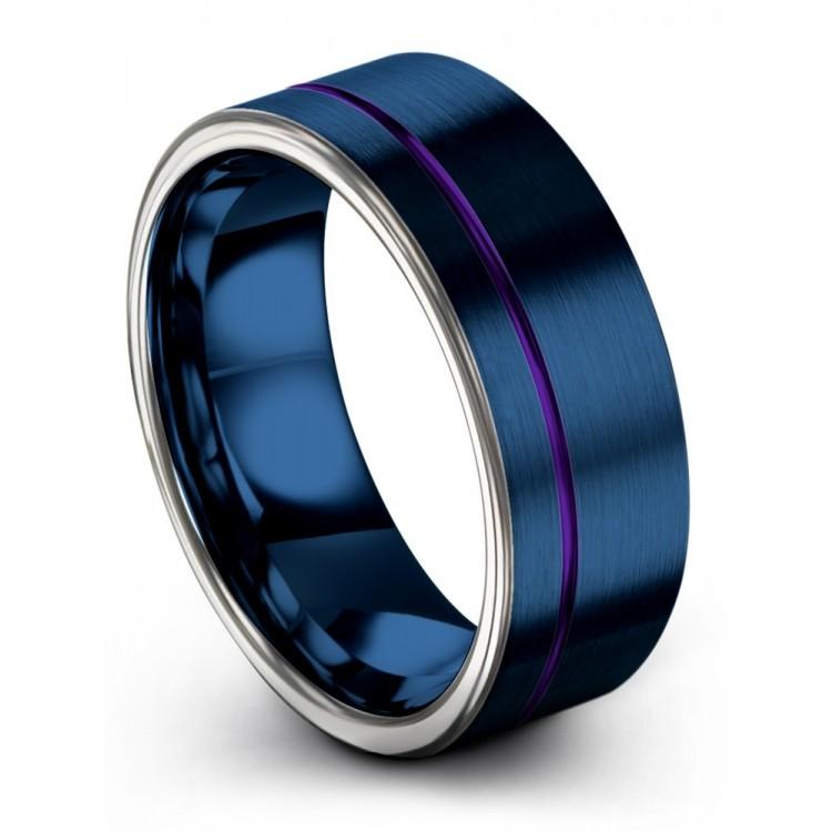 Galena Gray Empire Blue Royal Bliss 8mm Couple Wedding Rings