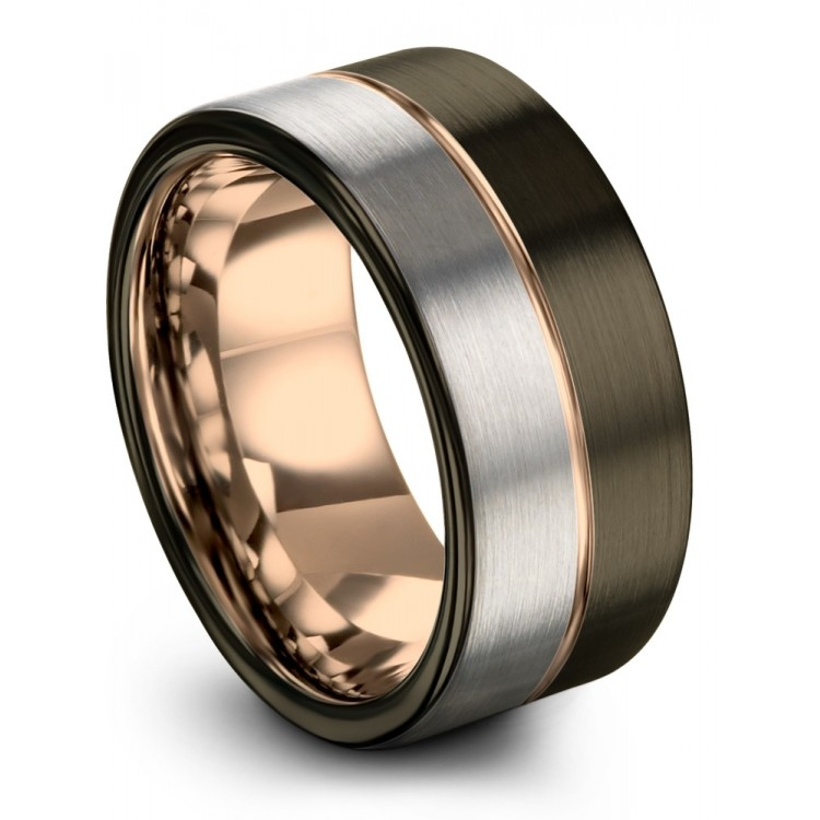 Galena Gray Moonlit Graphite Rose Gold 10mm Unique Wedding Ring