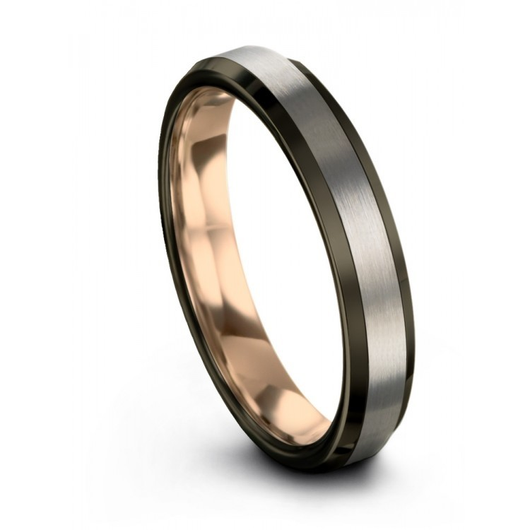 Galena Gray Moonlit Graphite Rose Gold 4mm Wedding Ring