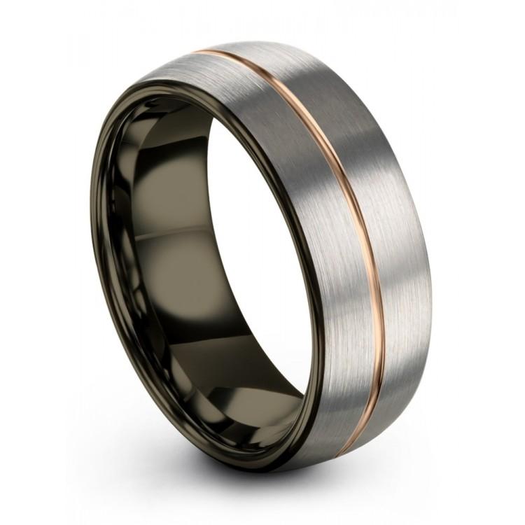 Galena Gray Moonlit Graphite Rose Gold 8mm Fancy Wedding Ring