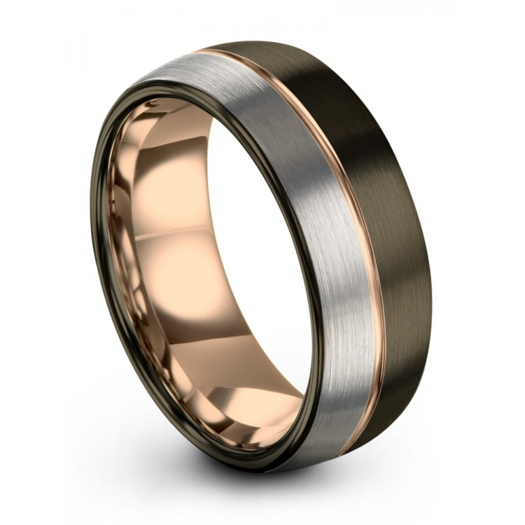 Galena Gray Moonlit Graphite Rose Gold 8mm Latest Cheap Wedding Rings
