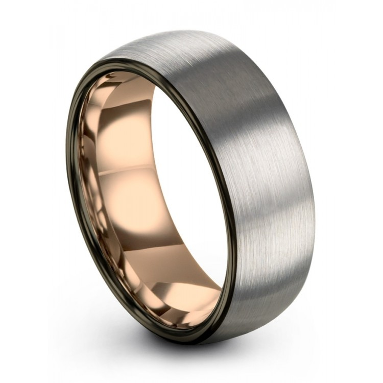 Galena Gray Moonlit Graphite Rose Gold 8mm Latest Wedding Band