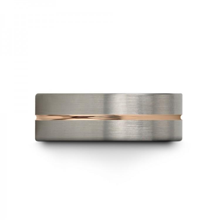 Galena Gray Moonlit Graphite Rose Gold 8mm Unique Wedding Ring