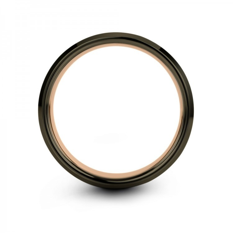 Galena Gray Moonlit Graphite Rose Gold 8mm Unisex Wedding Bands