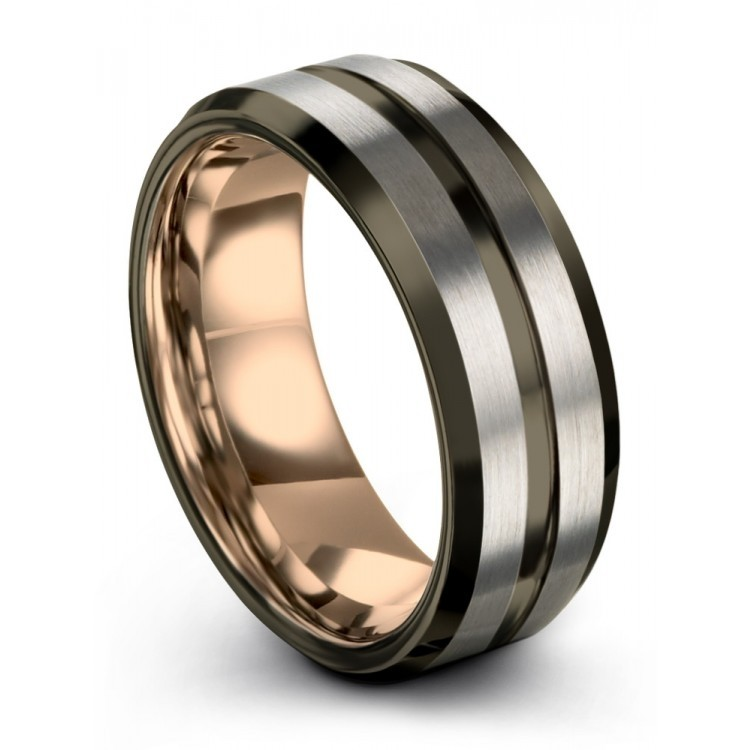 Galena Gray Moonlit Graphite Rose Gold 8mm Unisex Wedding Rings
